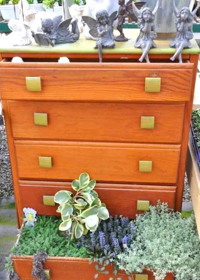 dresser made into a Miniature Garden