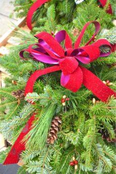 handmade bow on wreath