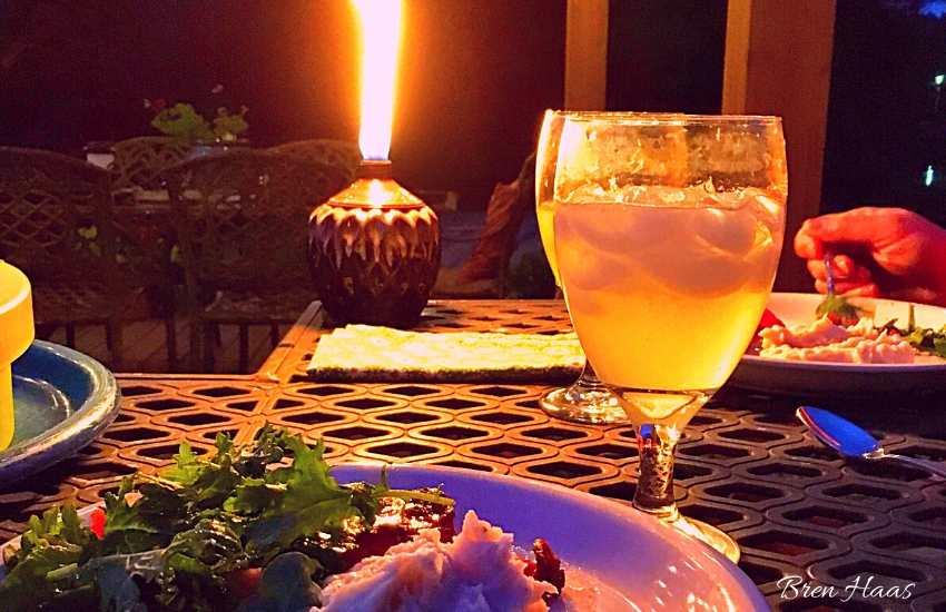 Tiki Torch on Table