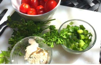 fresh herbs and vegetables from the garden