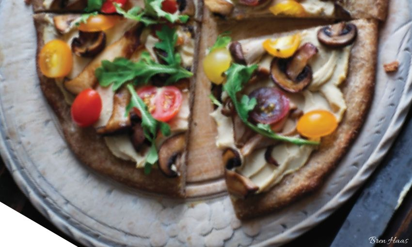 Homegrown Arugula and Wild  Mushrooms Pizza Recipe