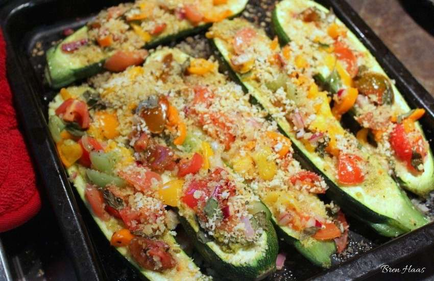 Carefully slice medium size zucchini in half length-wise for this recipe.