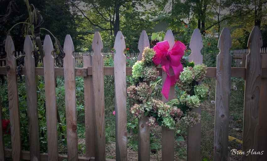 Pink Wreath with Dried Hydrangeas