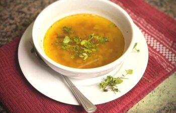 Red Lentil and Spicy Microgreen Soup
