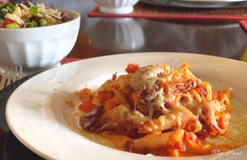 penne recipe on the table