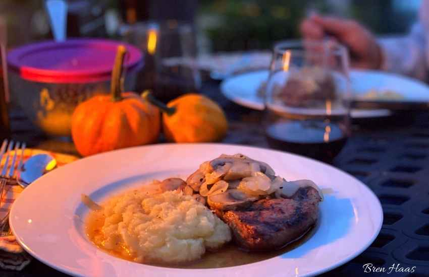 dinner plate with steak and squash mash potatoes