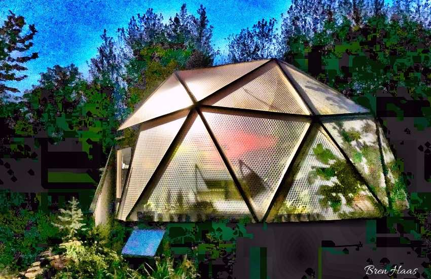 20 foot geodesic bio dome lite up for Autumn