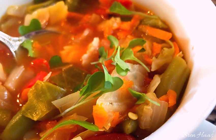 loaded with vegetables - cabbage soup in a bowl